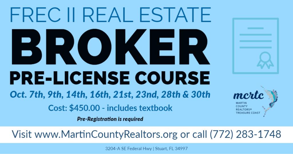 FREC II Real Estate Broker Pre-Licensing Course – Martin