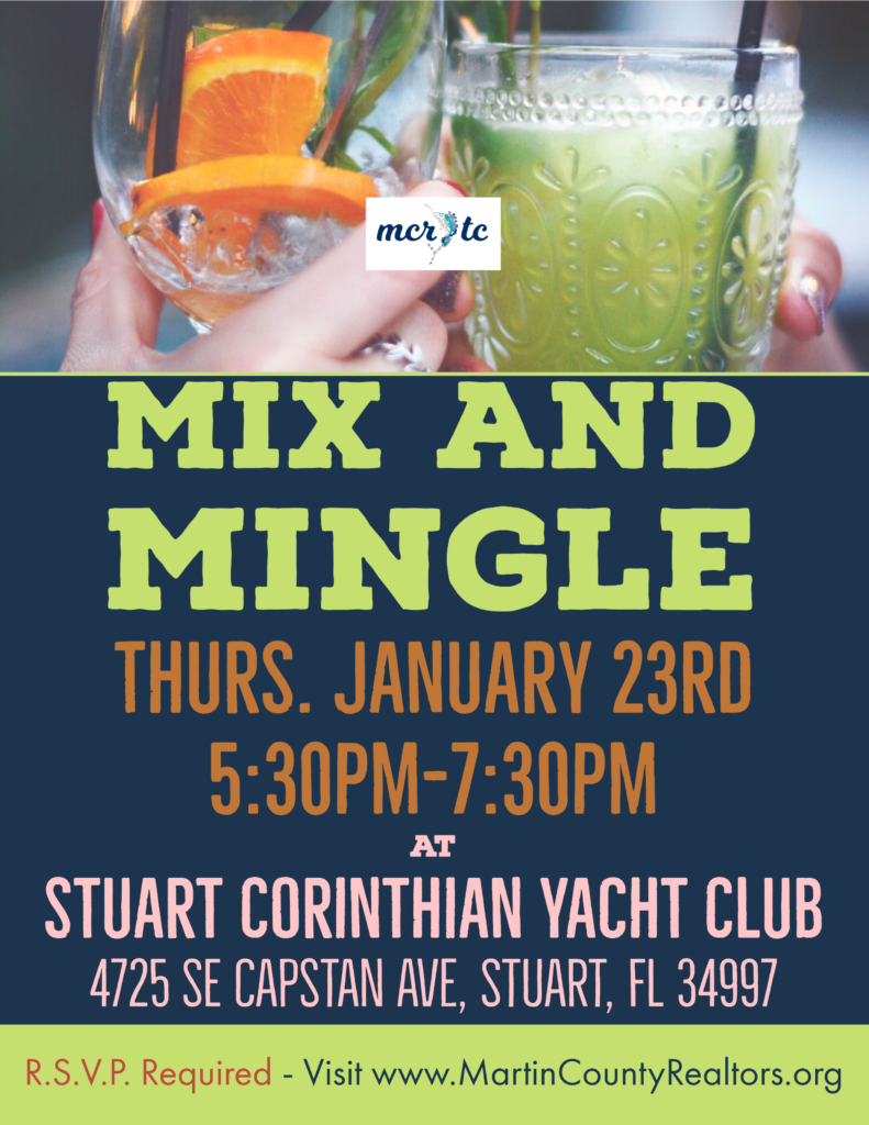 Mix and Mingle, Thursday Jan. 23, 2020 at Stuart Corinthian Yacht Club